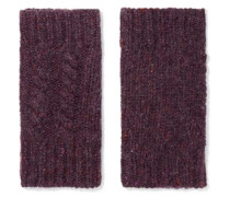 Fingerless cable-knit cashmere gloves
