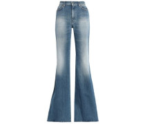 Faded high-rise flared jeans