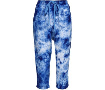 Cropped Tie-dye Washed-silk Tapered Pants Blue Size 0