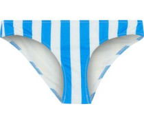 The Elle Striped Low-rise Bikini Briefs Azure