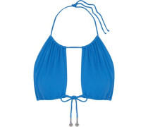 Embellished bow-detailed bikini top