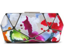 Painted Metallic And Textured-leather Clutch Silver Size --
