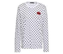 Alex Appliquéd Printed Cotton-jersey Top White