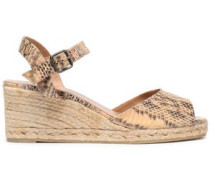 Snake-print faux leather espadrille wedge sandals