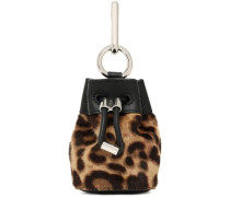 Leather-trimmed leopard-print calf hair keychain