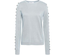 Button-embellished Silk Sweater Sky Blue