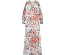 Woman Embellished Floral-print Silk-chiffon Gown Ecru