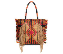 Hedia Fringed Cotton, Leather And Raffia Tote Sand Size --
