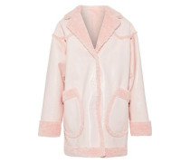 Reversible Faux Shearling And Faux Patent-leather Coat Pastel Pink