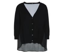 Chiffon-paneled Silk And Wool-blend Cardigan Black