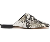 Meta Buckled Snake-effect Leather Slippers