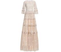 Roses Satin-trimmed Embellished Tulle Gown Beige
