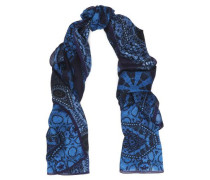 Printed modal and cashmere-blend gauze scarf