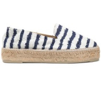 Striped bouclé-tweed espadrilles