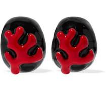 Enamel gold-tone clip earrings