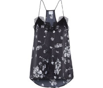The Racer Lace-trimmed Floral-print Silk-charmeuse Camisole Black