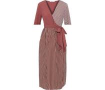Paneled Striped Poplin Midi Wrap Dress Brick