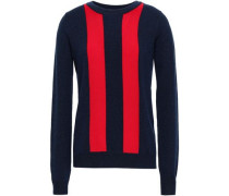 Sha Sta Striped Wool And Cashmere-blend Sweater Midnight Blue