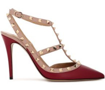 Woman Rockstud Two-tone Leather Pumps Claret