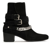 Buckle-detailed Chain-trimmed Suede Ankle Boots Black