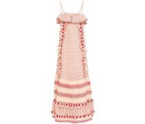 Peeri Tasseled Embroidered Cotton-gauze Dress Red