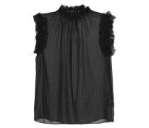 Ruffle-trimmed polka-dot silk-chiffon blouse