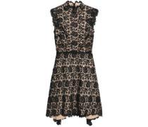 Draped guipure lace mini dress