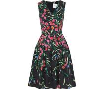 Woman Pleated Floral-print Cotton-blend Faille Dress Black