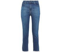 Woman Cropped Faded High-rise Slim-leg Jeans Mid Denim