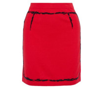 Bead-embellished Cotton And Cashmere-blend Mini Skirt Red