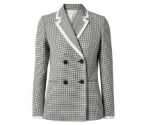 Double-breasted Gingham Cotton-blend Blazer Black