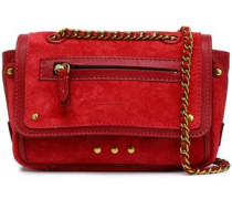 Studded leather-trimmed suede shoulder bag