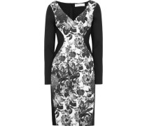 Paneled Floral-print Cotton-blend And Stretch-crepe Dress Black