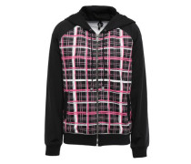 Checked Stretch-jersey Hooded Sweatshirt Black