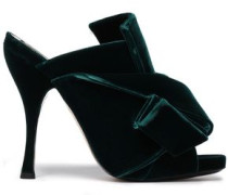 Knotted Velvet Mules Emerald