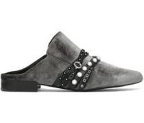 Louie studded leather-trimmed velvet slippers