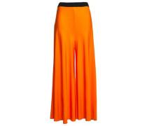 Woman Crepe-jersey Wide-leg Pants Bright Orange
