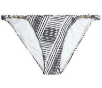 Knotted printed low-rise bikini briefs