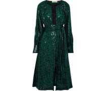 Belted printed coated silk-blend dress
