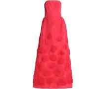 Floral-appliquéd silk-faille gown