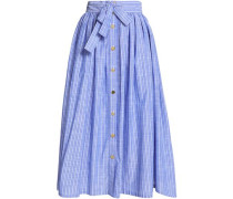 Belted striped chambray midi skirt