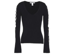 Lace-up ribbed cotton-blend sweater
