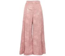 Costello Metallic Silk-blend Jacquard Wide-leg Pants Antique Rose Size 12
