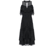 Ruffled Fil Coupé Silk-blend Midi Dress Black