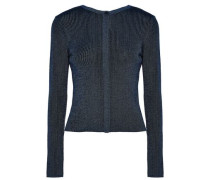Metallic ribbed-knit merino wool cardigan