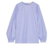 Gathered Cotton-chambray Blouse Lavender