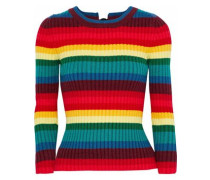 Ribbed striped cotton-blend sweater