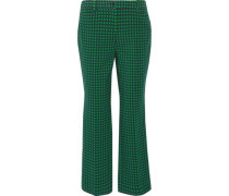 Polka-dot stretch-wool straight-leg pants