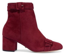 Sabrini Buckled Nubuck Ankle Boots Claret