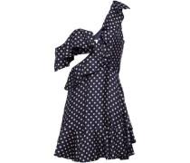 Cutout Polka-dot Twill Mini Dress Navy Size 0
